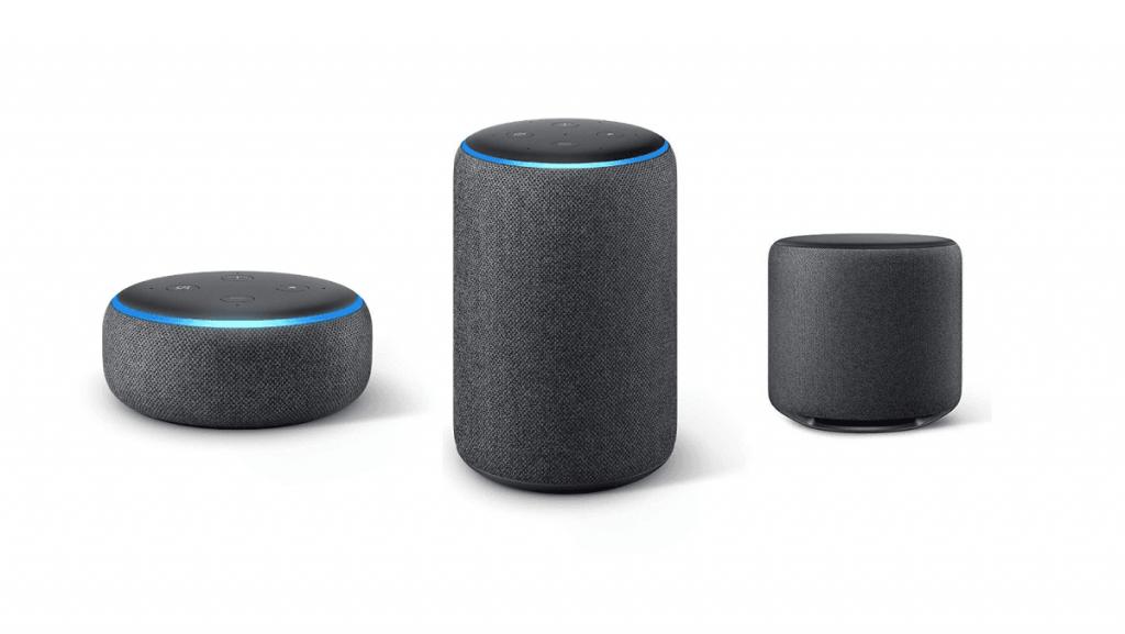 از راست: Echo Dot - Echo Plus - Echo Sub