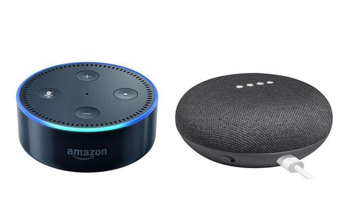 Google Home Mini در کنار Amazon Echo Dot
