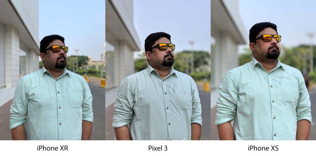 مقایسه عکسبرداری پرتره. از سمت راست iPhone XR - Pixel 3 - iPhone XS