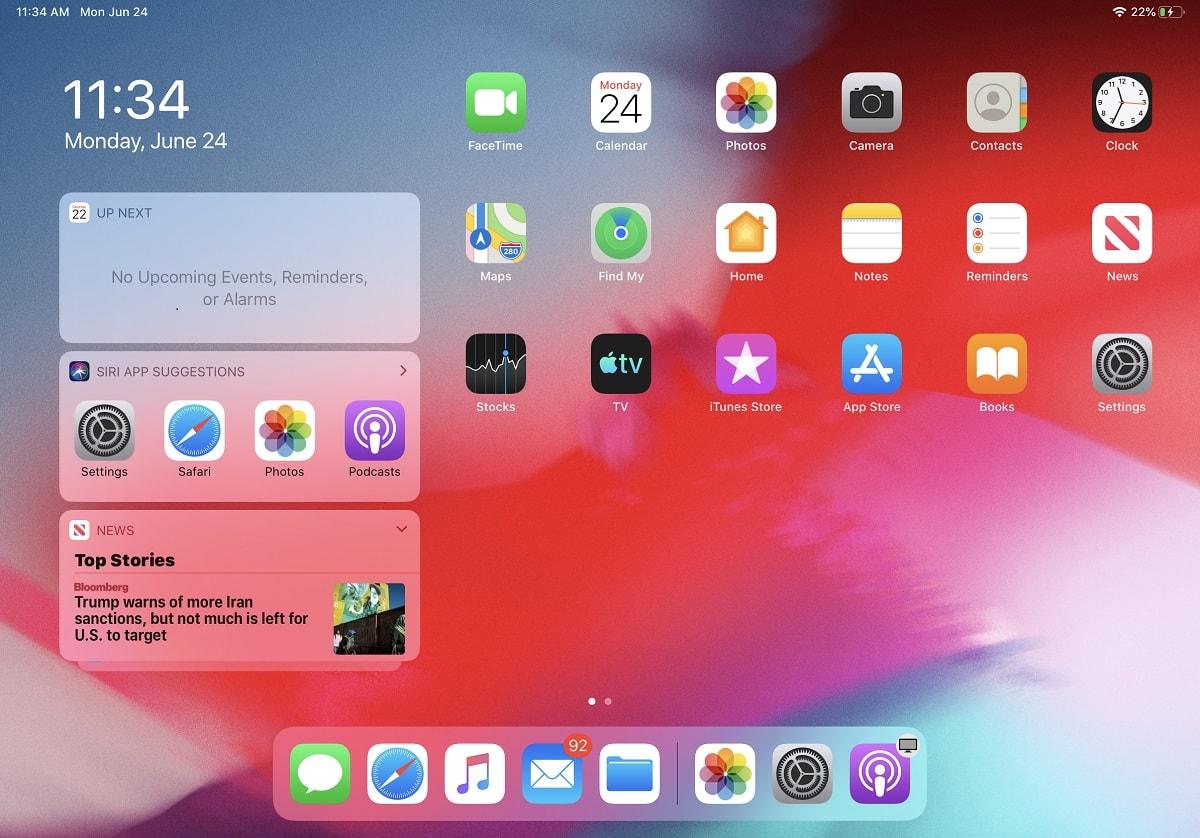 ویژگی های iPad OS