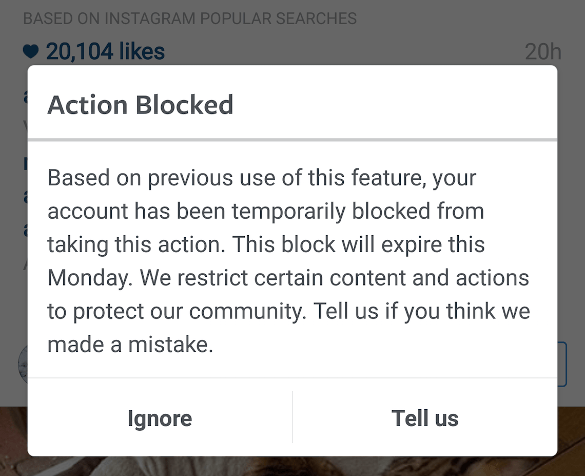 پیام اعلام اکشن بلاک اینستاگرام action block