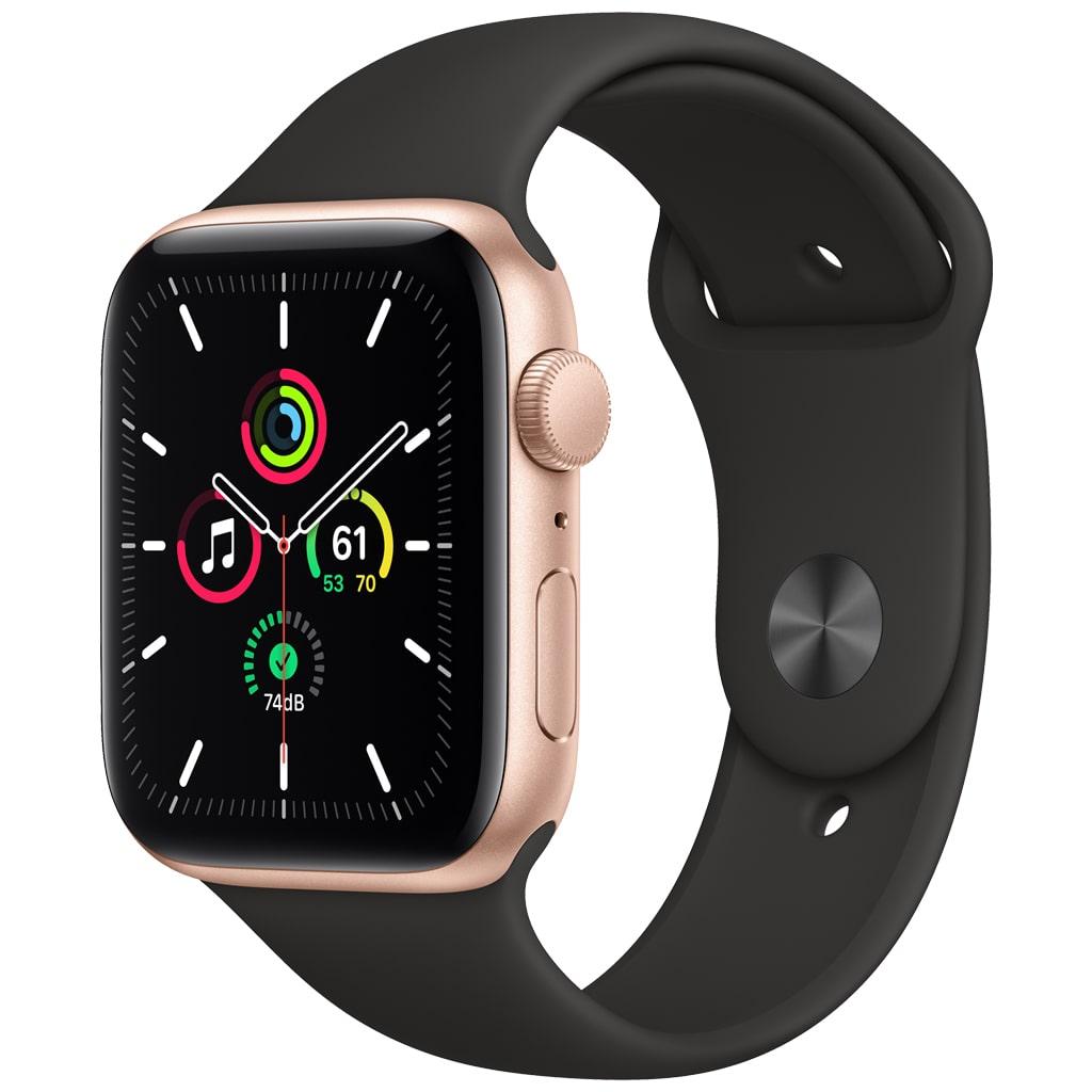 ساعت هوشمند اپل واچ مدل SE با قاب طلایی و بند ورزشی 44 میلیمتر